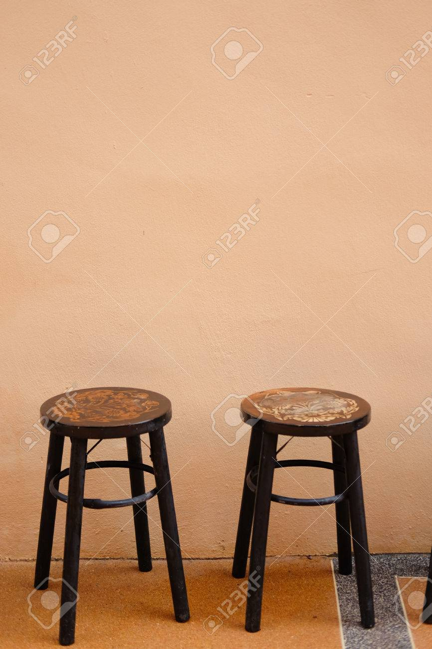 stool chair in chinese plush dinosaur rocking with sound two old antique circle wooden vintage style stock photo