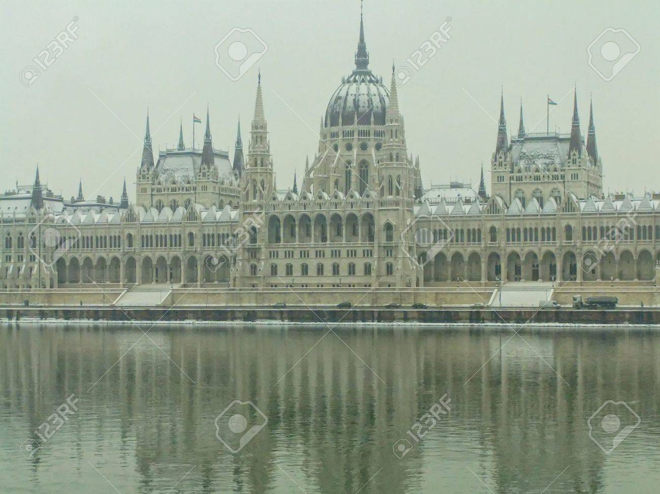 Parliament Building With The Danbe River In Winter Budapest