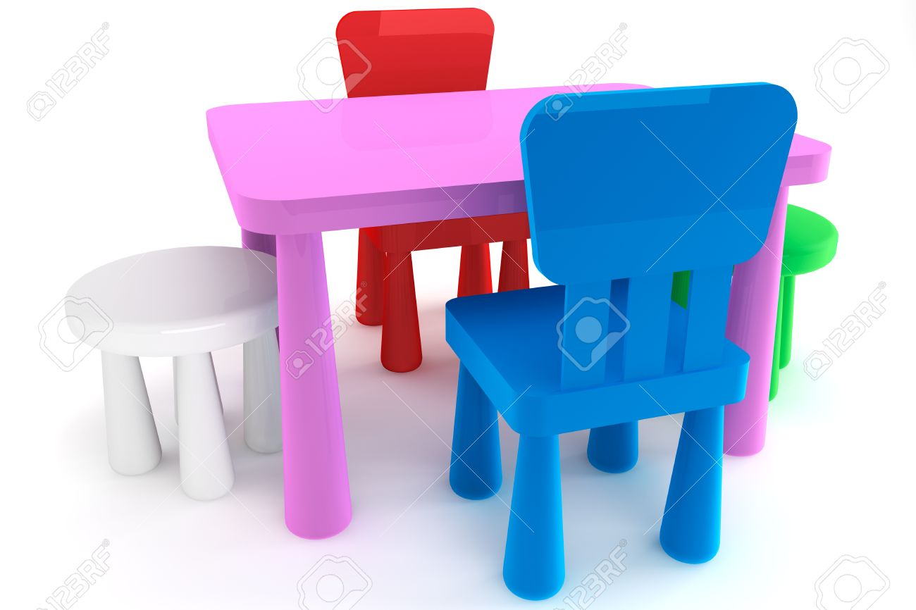 plastic kid chairs fishing chair tackle colorful and table on a white background stock photo 14601184