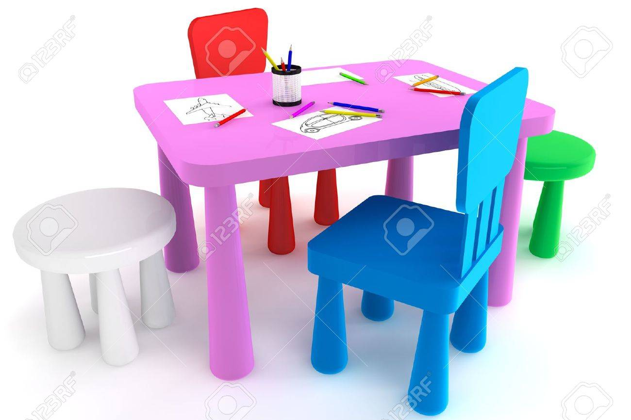 plastic kid chairs combi high chair colorful and table on a white background stock photo 14601227