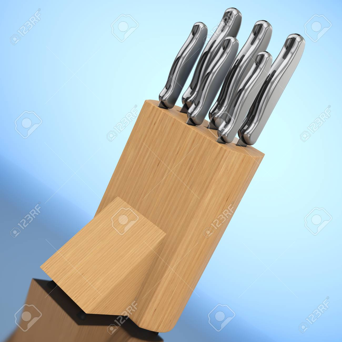 professional kitchen knives custom set in wooden box on a blue background 3d rendering stock photo