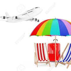 Air Travel Beach Chairs Art Deco Club Vacation Concept Airplane Flying To With Umbrella Stock Photo And Suitcase On White Background 3d Rendering