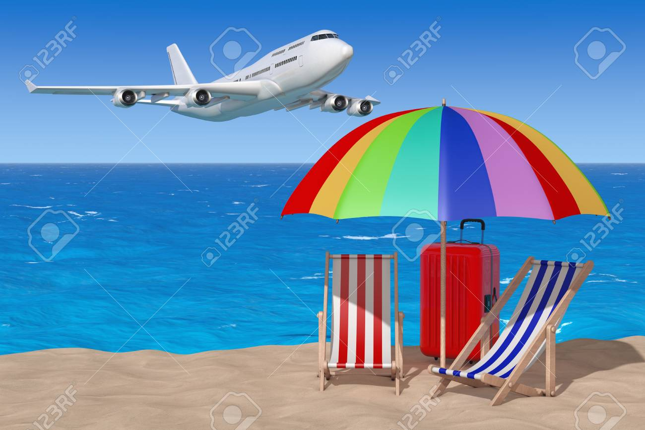 air travel beach chairs high kitchen table and vacation concept airplane flying to with umbrella suitcase on the sand sunny an ocean blue sky background 3d rendering