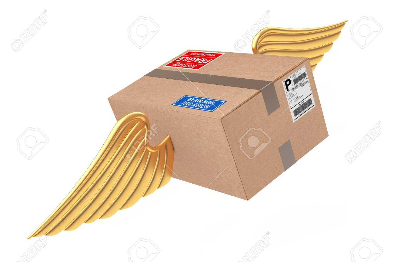 airmail shipping concept cardboard