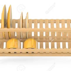 Kitchen Drying Rack Floor Ideas Bamboo Dish With Plates And Mugs On A White Background 3d Rendering