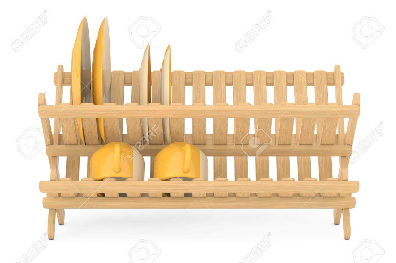 kitchen drying rack cabinets white bamboo dish with plates and mugs on a background 3d rendering
