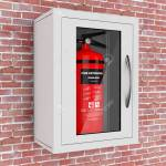 Red Fire Extinguisher In A Wall Mounted Emergency Storage Box