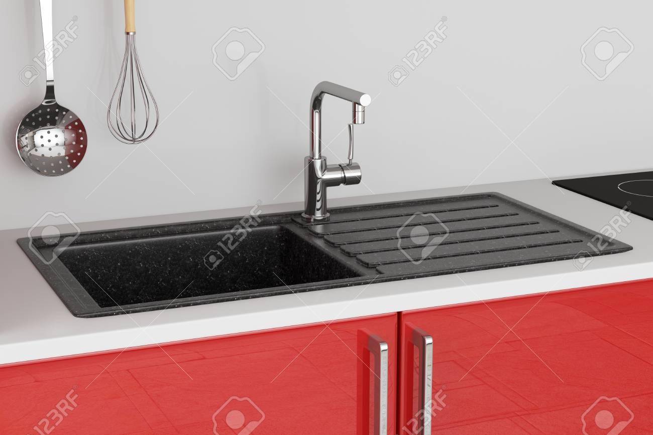 modern granite kitchen sink with stainless steel water tap faucet stock photo picture and royalty free image image 117987320