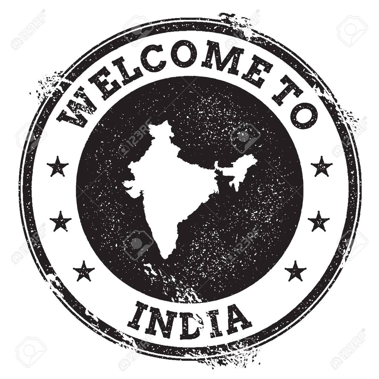 hight resolution of vector vintage passport welcome stamp with india map grunge rubber stamp with welcome to india text vector illustration