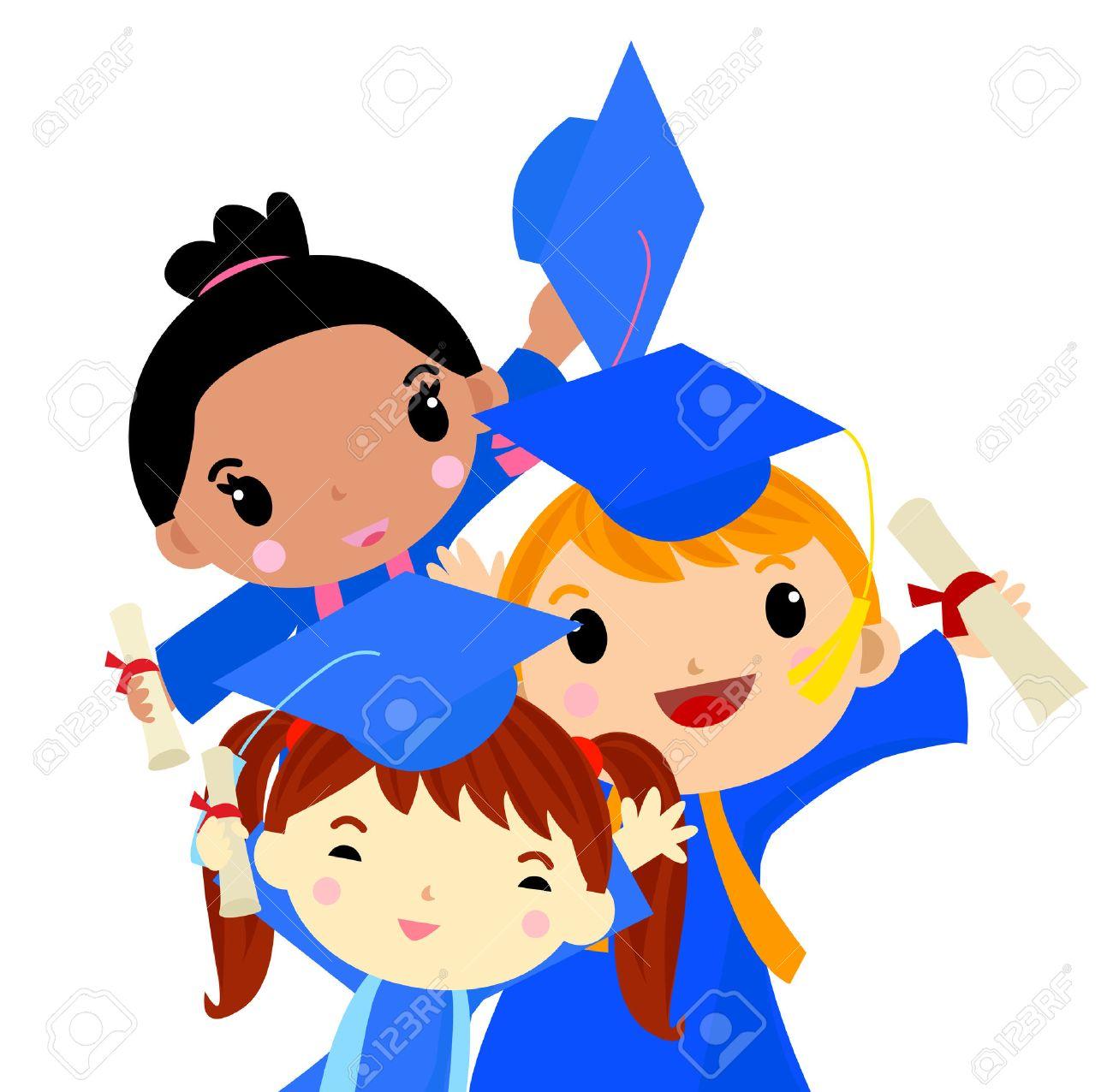 hight resolution of graduation kids stock vector 30721335