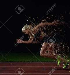 pixelated design of woman sprinter leaving starting blocks on the athletic track side view  [ 1300 x 867 Pixel ]