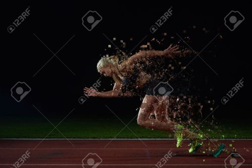 small resolution of pixelated design of woman sprinter leaving starting blocks on the athletic track side view