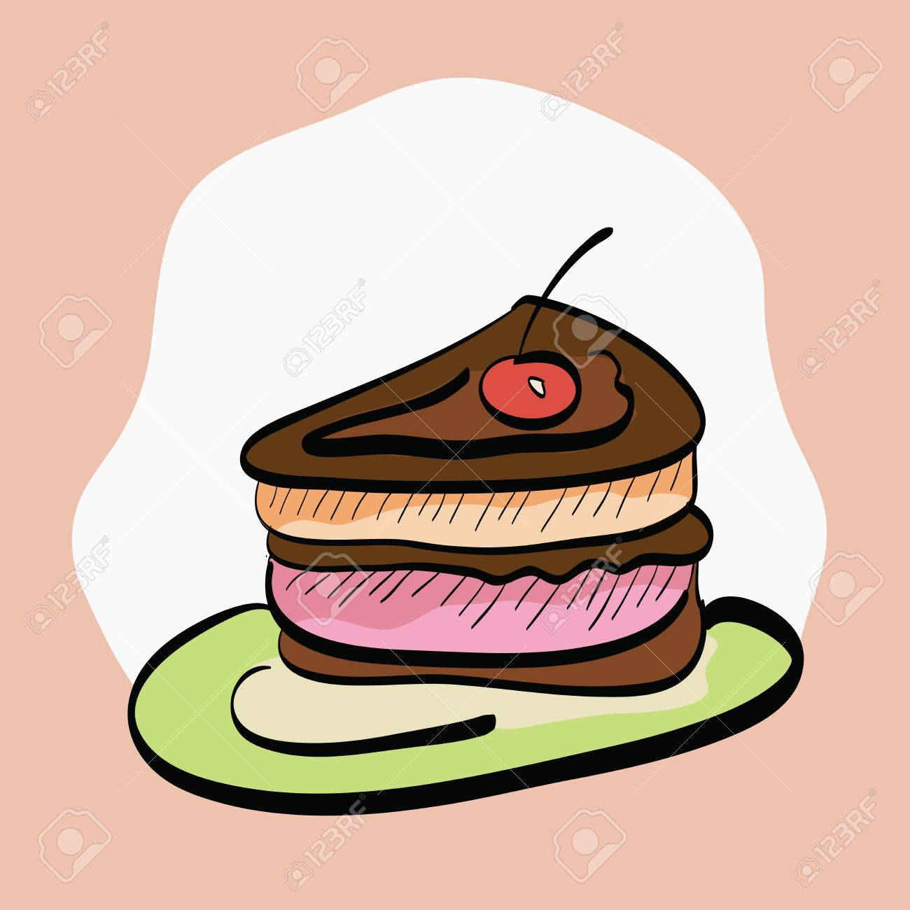 hight resolution of slice of cake hand drawn cartoon clip art illustration stock vector
