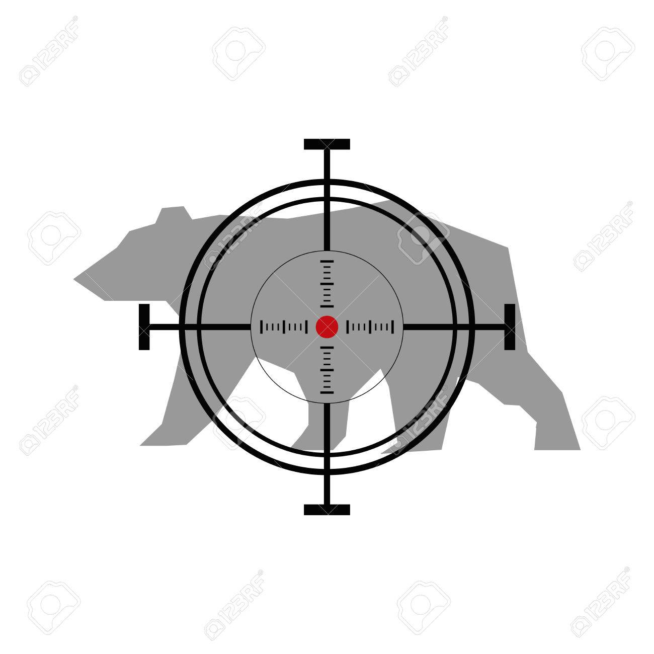 hight resolution of illustration with bear hunting crosshair target stock vector 49503572