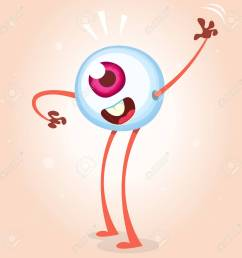 happy cartoon eye monster waving helloween vector monster eye with hands and legs isolated on [ 1300 x 1300 Pixel ]