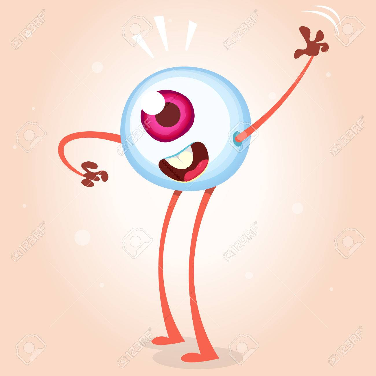 hight resolution of happy cartoon eye monster waving helloween vector monster eye with hands and legs isolated on