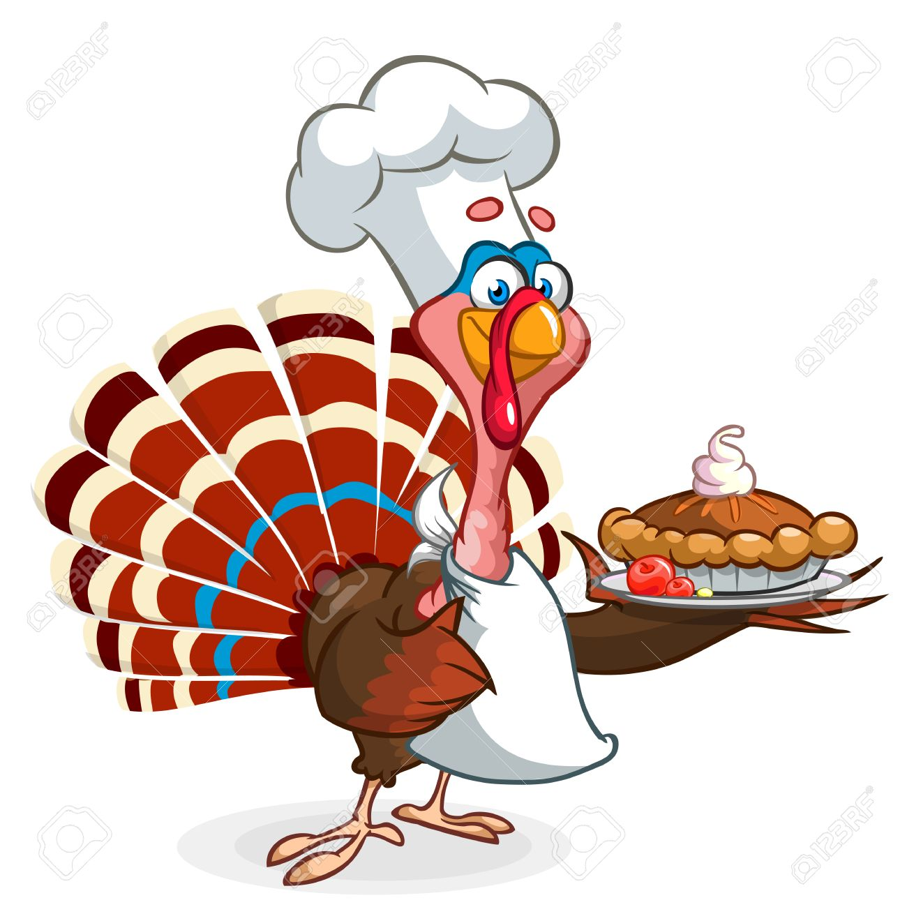 hight resolution of thanksgiving turkey chief cook serving pumpkin pie vector cartoon stock vector 64750145