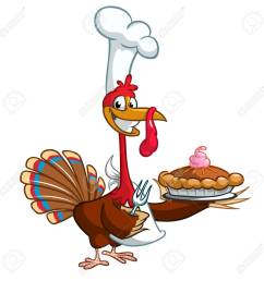 thanksgiving turkey chief cook serving pumpkin pie vector cartoon stock vector 64750163 [ 1300 x 1300 Pixel ]