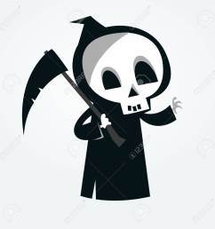 cute cartoon grim reaper with scythe isolated on white vector illustration stock vector 85472295 [ 1300 x 1300 Pixel ]