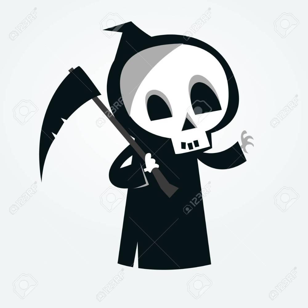 medium resolution of cute cartoon grim reaper with scythe isolated on white vector illustration stock vector 85472295