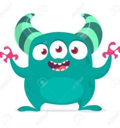 funny cartoon alien with three eyes vector illustration clipart stock vector 104064130 [ 1300 x 1300 Pixel ]