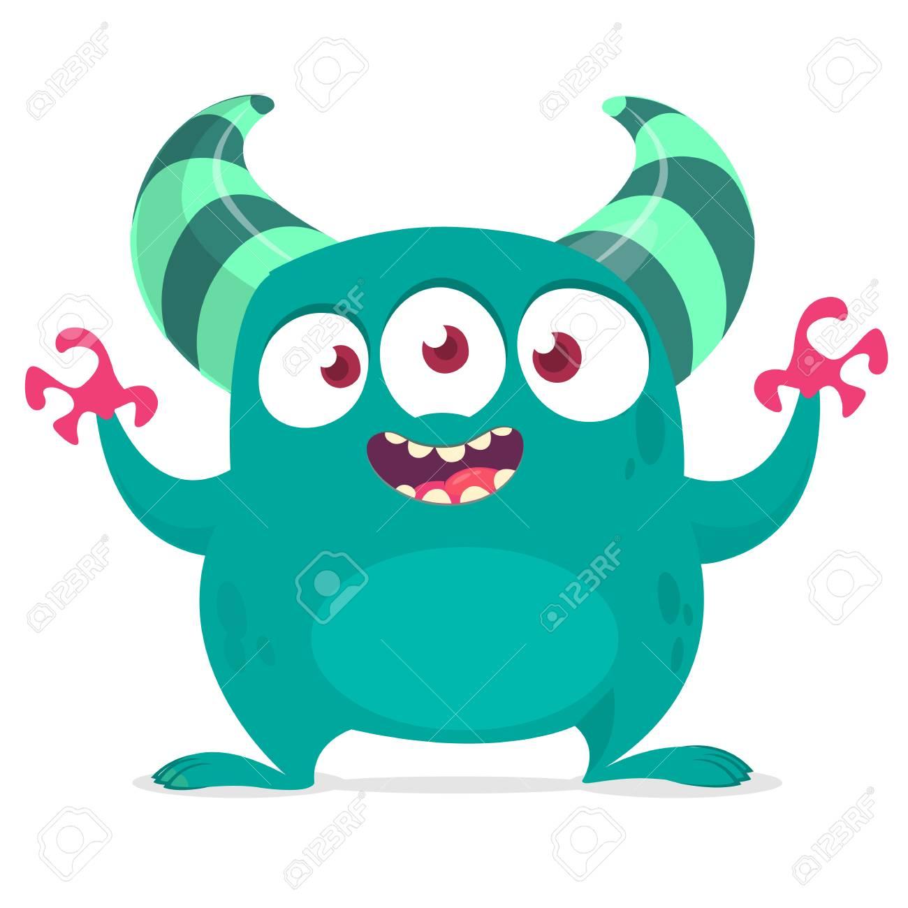 hight resolution of funny cartoon alien with three eyes vector illustration clipart stock vector 104064130