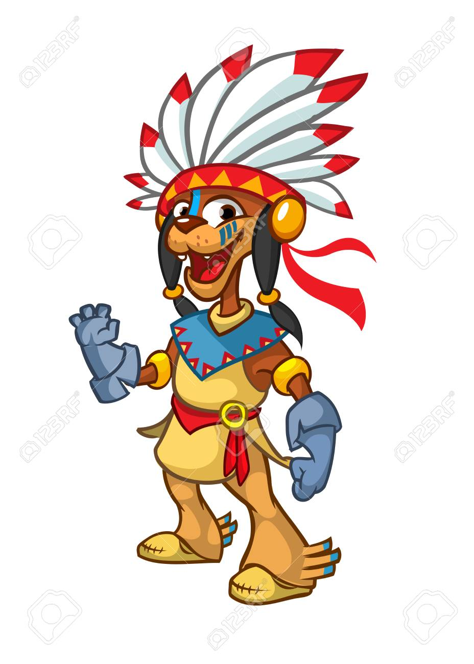 medium resolution of cartoon native american indian character illustration clipart stock vector 110101299