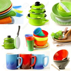 Kitchen Pots And Pans Cabinets Knoxville Collage Of Different Cookware Bowls Cups Plates Stock