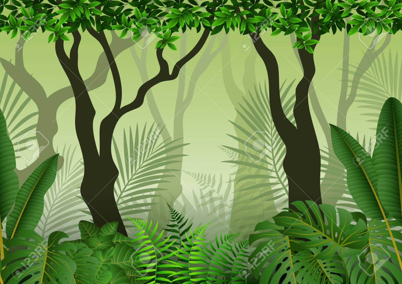 Background vector green lawn in tropical forest template background vector. Illustration Of Seamless With Tropical Forest Background Royalty Free Cliparts Vectors And Stock Illustration Image 66652862