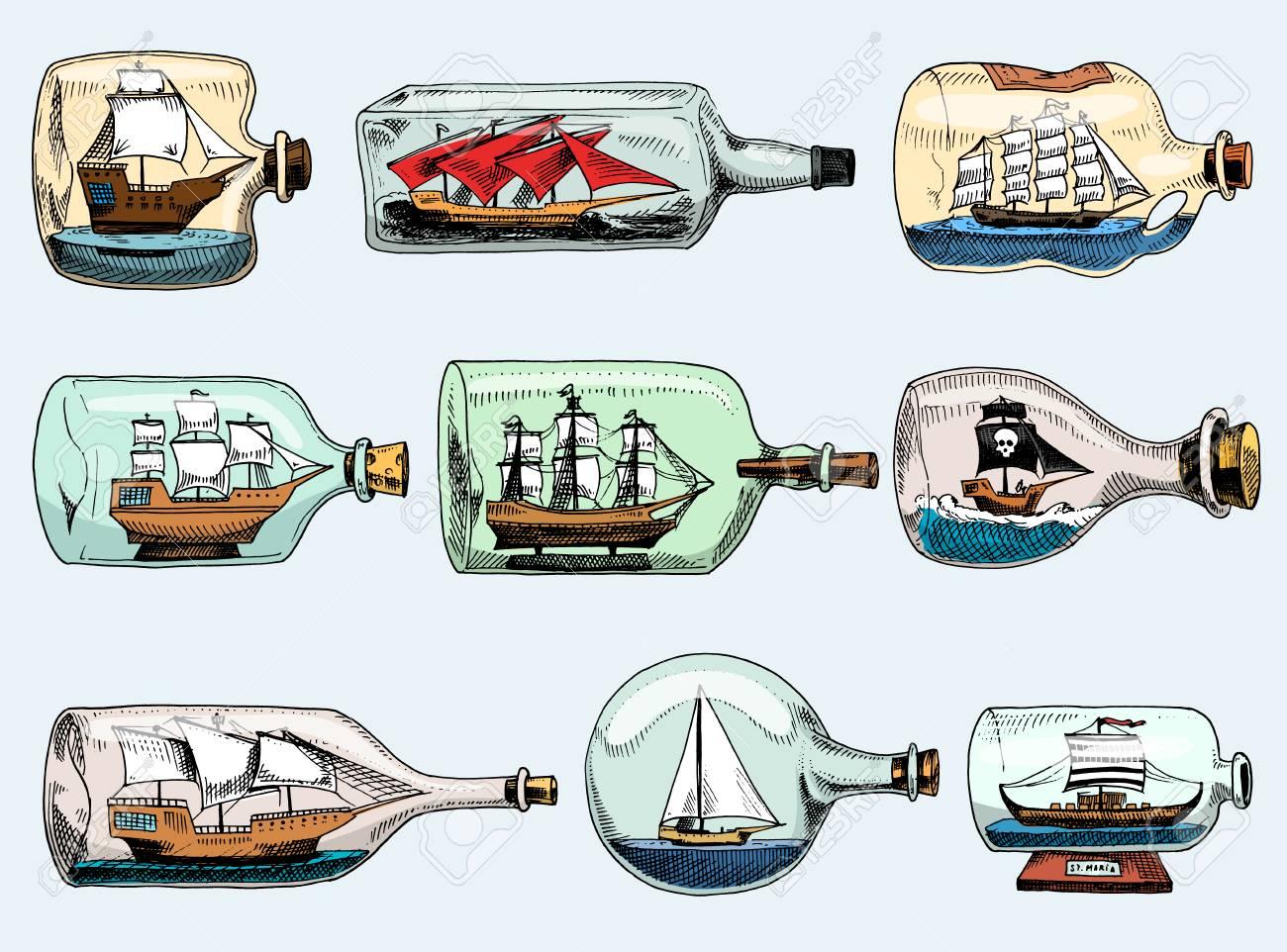 bateau en bouteille vecteur bateau souvenir souvenir de voile doue en verre voilier avec liege ou expedition en fiole isole sur fond blanc