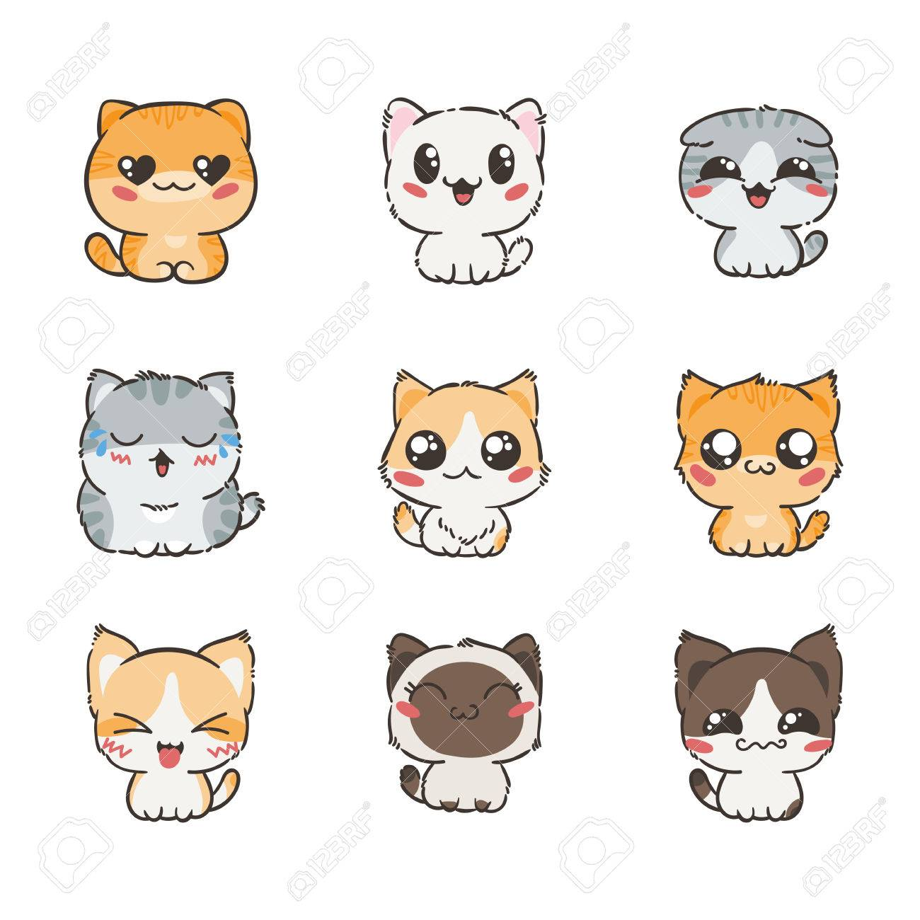cute cartoon cats and