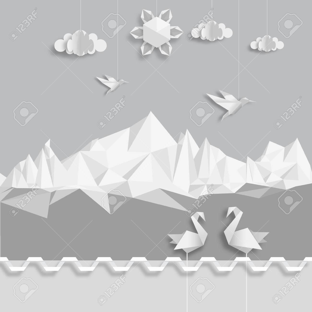 realistic illustration of origami