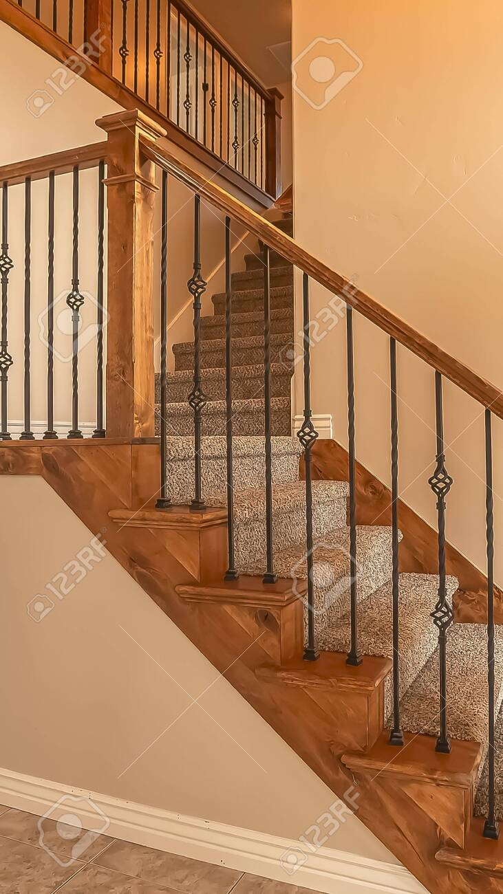Vertical Frame Carpeted Stairs With Wood Handrail And Metal | Iron And Wood Railing | Rod Iron | Interior | Deck | Custom | Horizontal