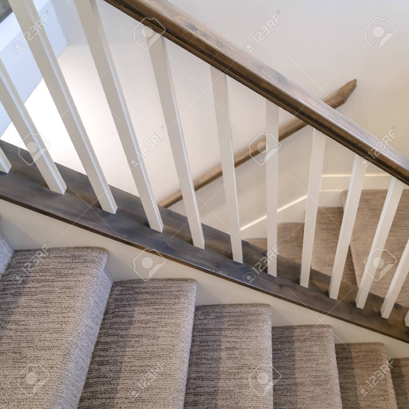 Photo Square Frame U Shaped Indoor Staircase Of Home With Treads | Square Handrail For Stairs | Balustrade | Outdoor | Hand Rail | Low Cost | Residential