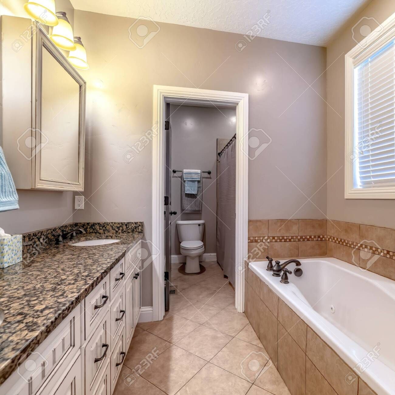 Square Bathroom Interior With Bathtub Double Sink Vanity Mirror Stock Photo Picture And Royalty Free Image Image 149197296