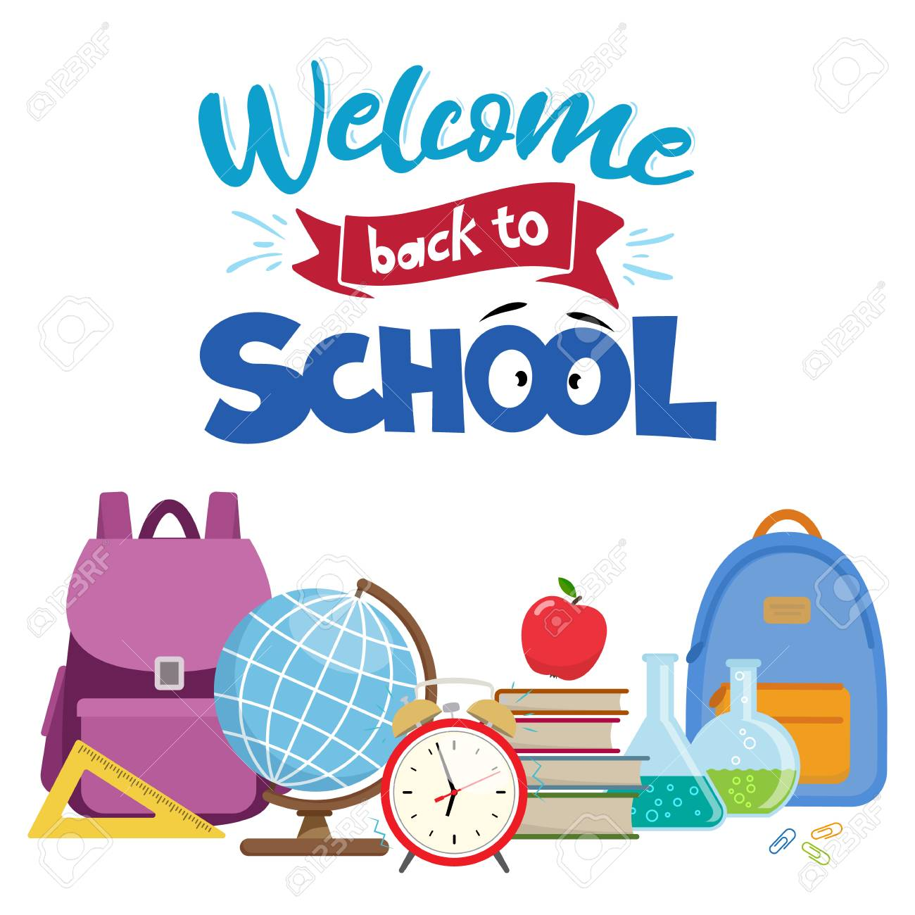 hight resolution of set of different school supplies first day of school back to school flat icons