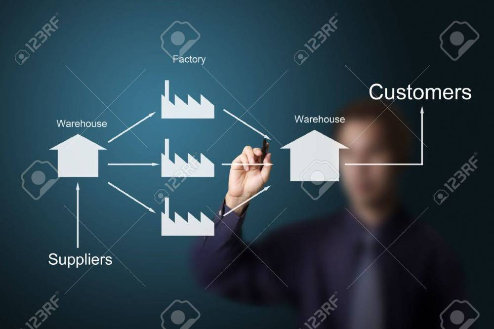 medium resolution of business man drawing supply chain chart stock photo 13193903