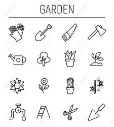 Set Of Garden Icons In Modern Thin Line Style High Quality Black Royalty Free Cliparts Vectors And Stock Illustration Image 82825936