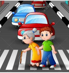 cartoon boy helps grandma crossing the street stock vector 78420171 [ 1300 x 1058 Pixel ]
