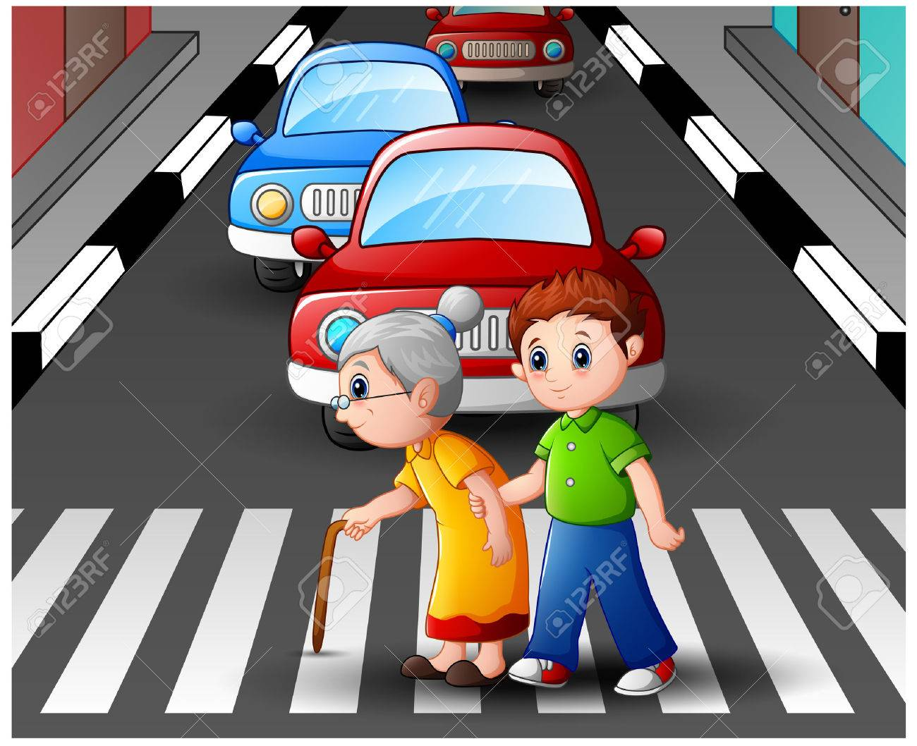 hight resolution of cartoon boy helps grandma crossing the street stock vector 78420171