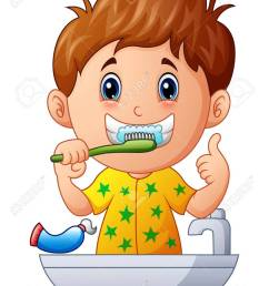 vector vector illustration of cute boy brushing teeth [ 947 x 1300 Pixel ]