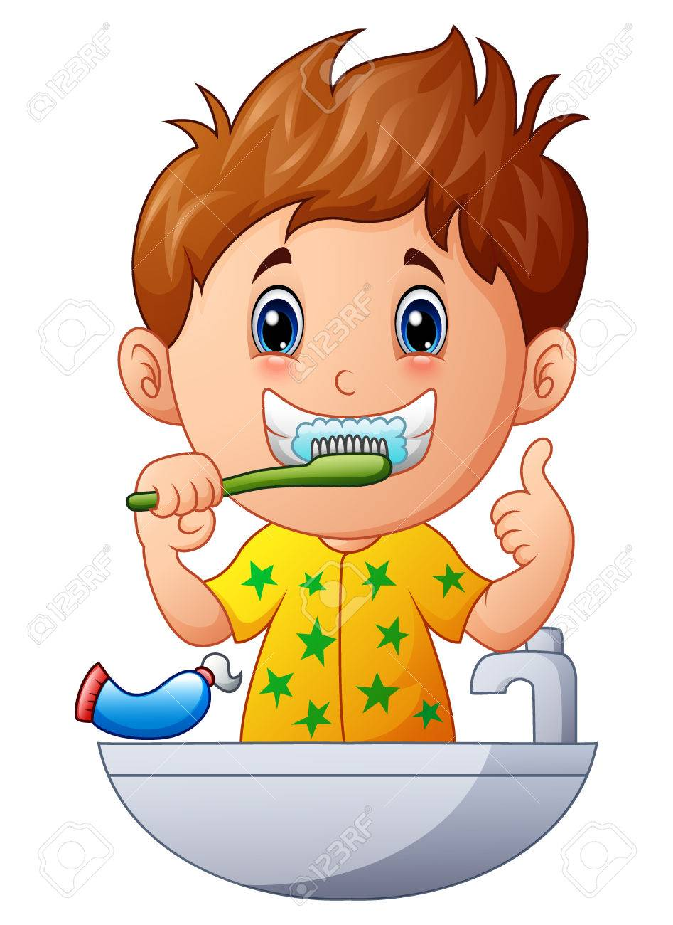hight resolution of vector vector illustration of cute boy brushing teeth