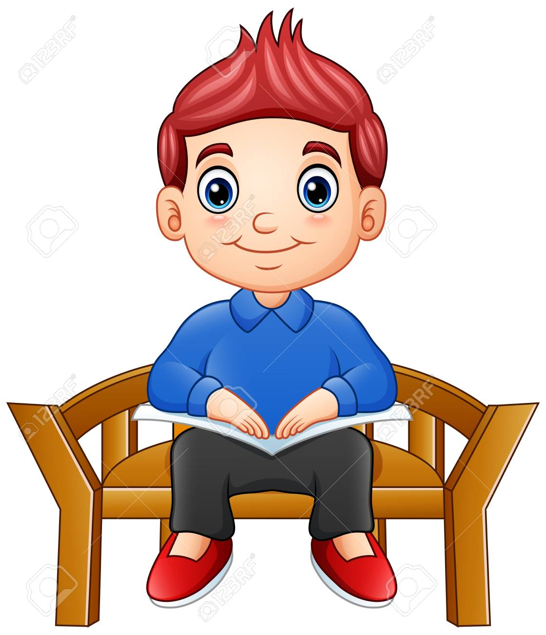 Boys Chair Little Boy Sitting On A Chair Reading A Book