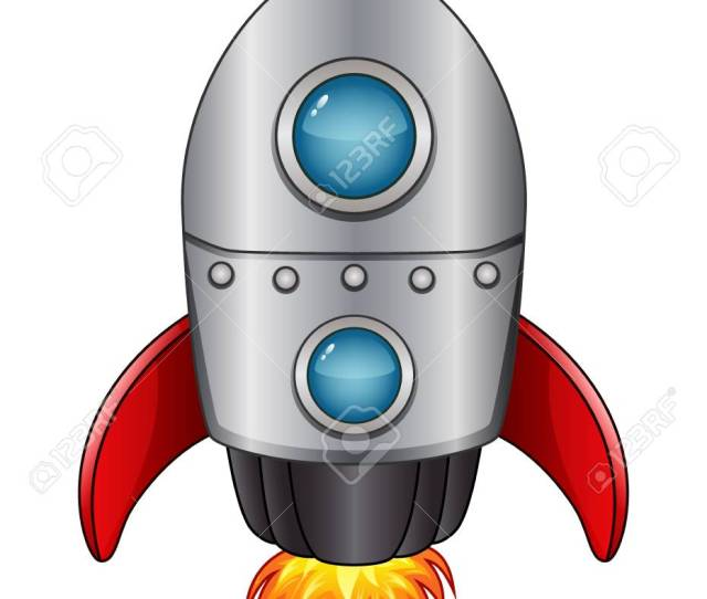 Cartoon Spaceship With Flame Isolated On White Background Stock