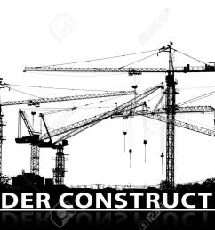 black and white silhouette of construction site and tower crane with under construction caption text below [ 1300 x 902 Pixel ]