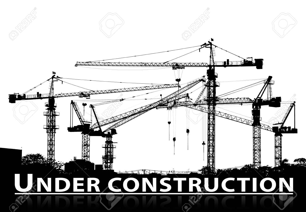 hight resolution of black and white silhouette of construction site and tower crane with under construction caption text below