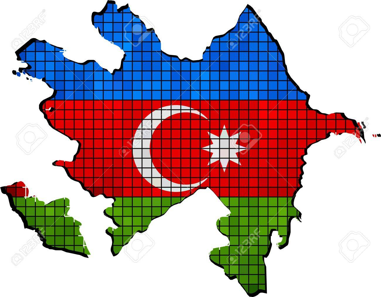 azerbaijan map with flag