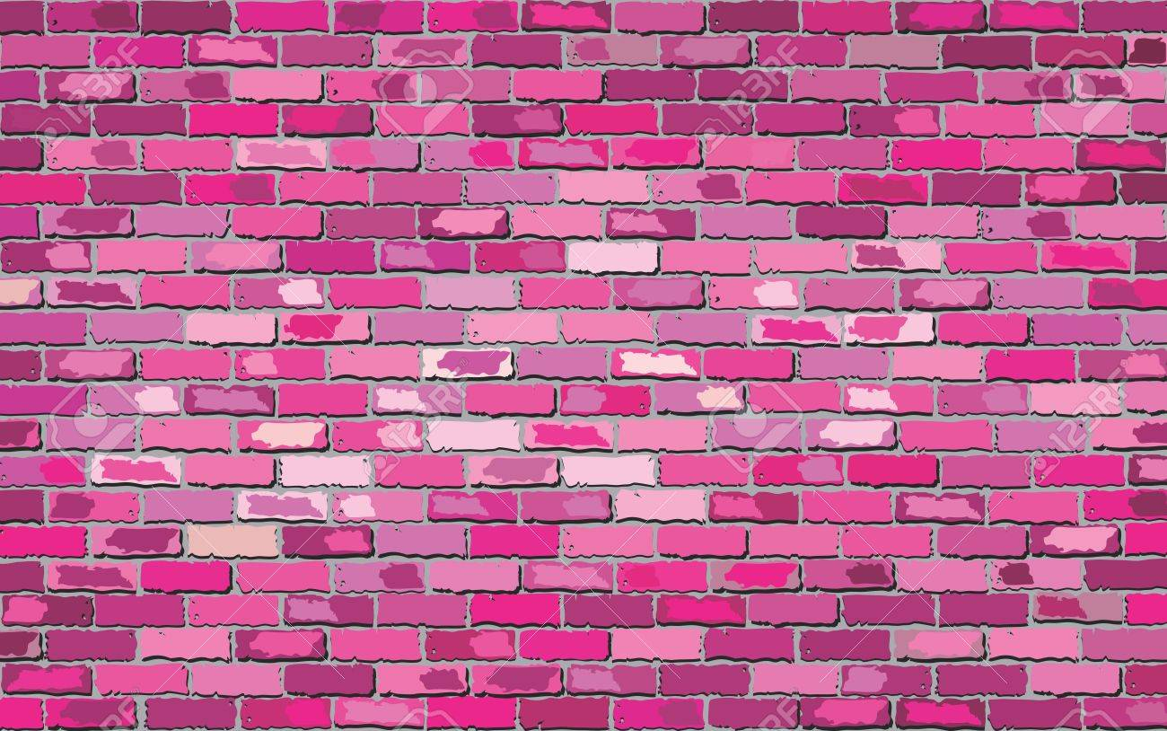 pink brick wall illustration