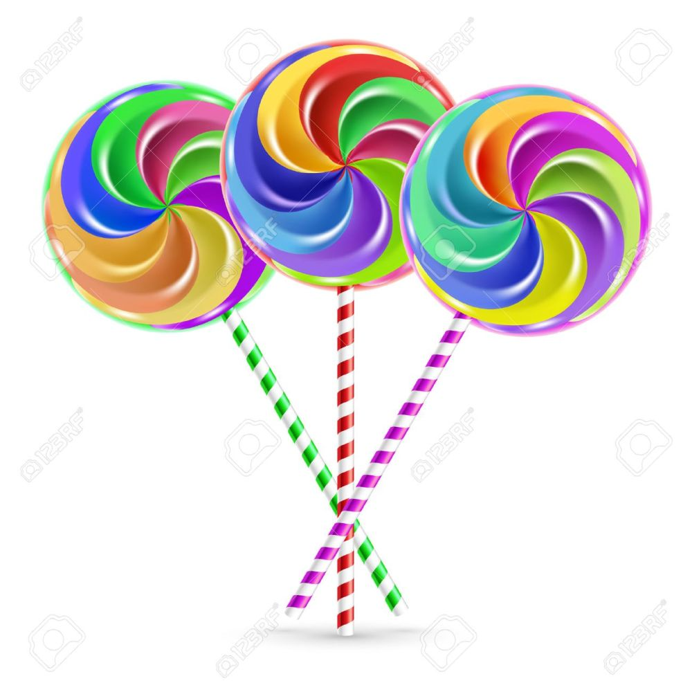 medium resolution of the colorful lollipops on striped sticks over white stock vector 28022002