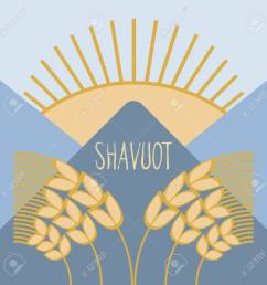 template in a minimalist style to create labels stickers uncluttered layout of the poster shavuot vector illustration for jewish holiday frame of wheat  [ 1300 x 1300 Pixel ]
